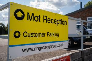 Sign for MOT Reception at Ring Road Garage Buckingham