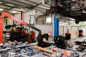 car engine being repaired at ring road garage Buckingham